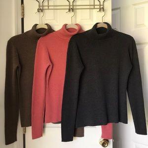🍁 (3) GAP Ribbed Turtleneck Sweaters - Large 🍁